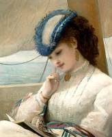 Edward Henry Corbould - A Girl Reading in a Sailin