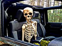 Skeleton in the Passenger Seat of a Jeep