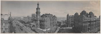 Panorama of Sydney Town Hall and Queen Victoria Bu