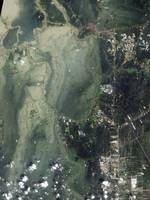 Satellite photographs showing flooding in Ayutthay