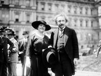 Albert Einstein with wife Elsa; State, War, and Na