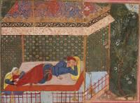 A woman holds the feet of a man sleeping in a pavi