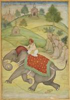 An elephant with rider, possibly the Emperor Akbar