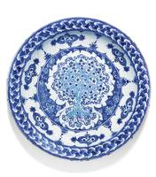 An exceptional Iznik blue and white pottery dish,