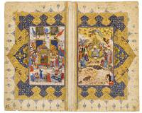 An illustrated and illuminated double page from a