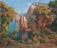 EUGÈNE-FRANÇOIS-ADOLPHE DESHAYES ; CLIFF AND TREES