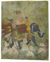 Iraj (or Irij) Khan in procession on an elephant,