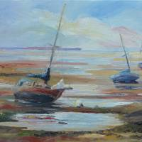 Sailboats At Low Tide Near Nelson, New Zealand Art Prints & Posters by Barbara Pommerenke