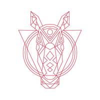 Geometric Horse Head Line Drawing