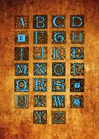 Old Paper Blue Letters Alphabet