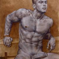 Male Nude #1 in Grisaille Art Prints & Posters by Julian Hsiung
