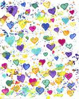 Hearts with Colorful Paint Splatter