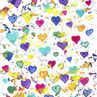 Hearts with Colorful Paint Splatter Art Prints & Posters by Valerie Waters