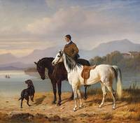 Franz Adam, THE CHIEMSEE WITH HORSEMEN AND SADDLED