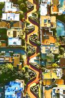 Aerial View of LOMBARD STREET San Francisco Califo