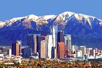 Los Angeles California Skyline Against t Mountains