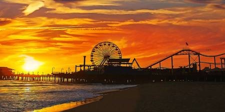Fiery Sunset at Santa Monica Pier California