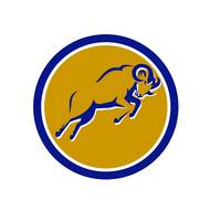 Bighorn Sheep Jumping Circle Retro