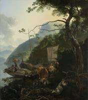 Boatmen Moored on the Shore of an Italian Lake, Ad