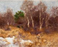 BRUNO LILJEFORS, FOREST LANDSCAPE WITH FOX AND HOU