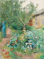 CARL LARSSON, GARDEN SCENE FROM MARSTRAND ON THE W