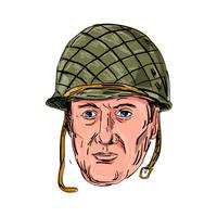 World War Two American Soldier Head Drawing