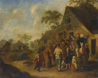 Jan Miense Molenaer A Village Street With Villager