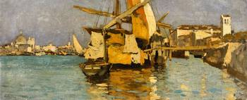 Guglielmo Ciardi, A Sailing Boat on the Canale del