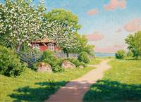 JOHAN KROUTHÉN, LANDSCAPE WITH FRUIT TREES.