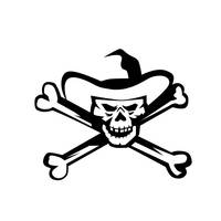 Cowboy Pirate Skull Cross Bones Retro