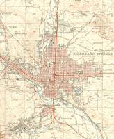 Vintage Map of Colorado Springs CO (1951)