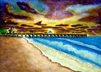 June Beach Pier Florida Seascape Sunrise Painting