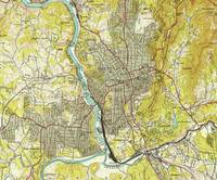 Vintage Map of Asheville North Carolina (1943)