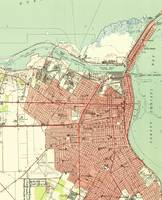 Vintage Map of Corpus Christi Texas (1951)