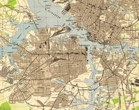 Vintage Norfolk & Portsmouth Virginia Map (1944)