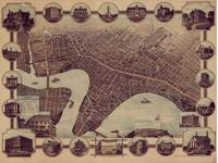 Vintage Pictorial Map of Winnipeg Canada (1884)
