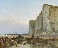 JOUHAN, RENÉ 1835 Angers - 1881   Cliff by the Nor