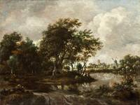 Meindert Hobbema - Landscape with Anglers and a Di