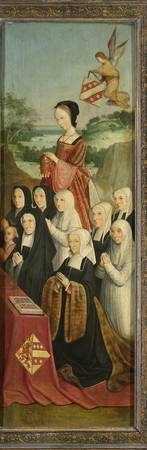 Memorial Panel with Nine Female Portraits