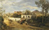Road at Pompeii with the Active Vesuvius in the Ba