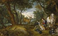 Miracle of Saint Hubert by Brueghel and Rubens  (c