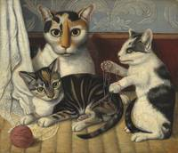 Unknown American Artist - Cat and Kittens [c.1872-