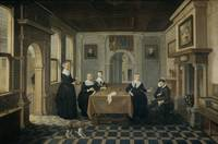 Five Ladies in an Interior, Dirck van Delen (attri