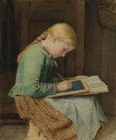 ANKER, ALBERT (1831 Ins 1910) Writing girl.