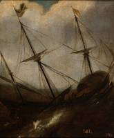 ANONYMOUS Boat in a Storm XVII century.