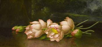 Lotus Flowers,  A Landscape Painting in the Backgr