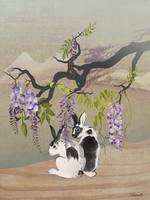 Two Rabbits Under Wisteria Tree