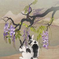 Two Rabbits Under Wisteria Tree by I.M. Spadecaller