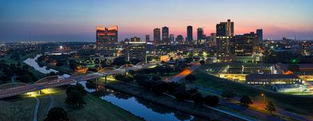 Fort Worth Skyline Sunrise Pano