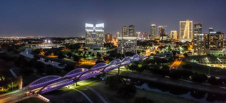 Fort Worth Skyline at Twillight Pano